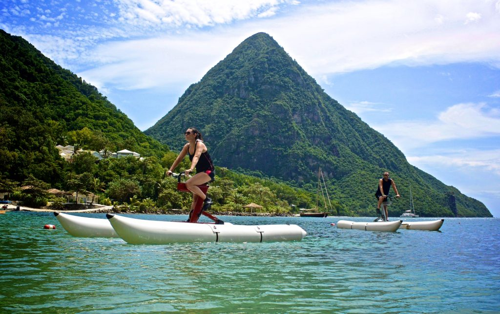 Schiller Water Bike on the lake with a mountain view