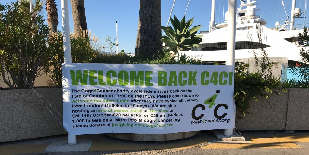Cogs4Cancer Welcome banner at Port Vauban