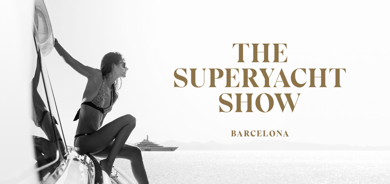 The Superyacht Show advert with a lady sat on a yacht looking out to sea