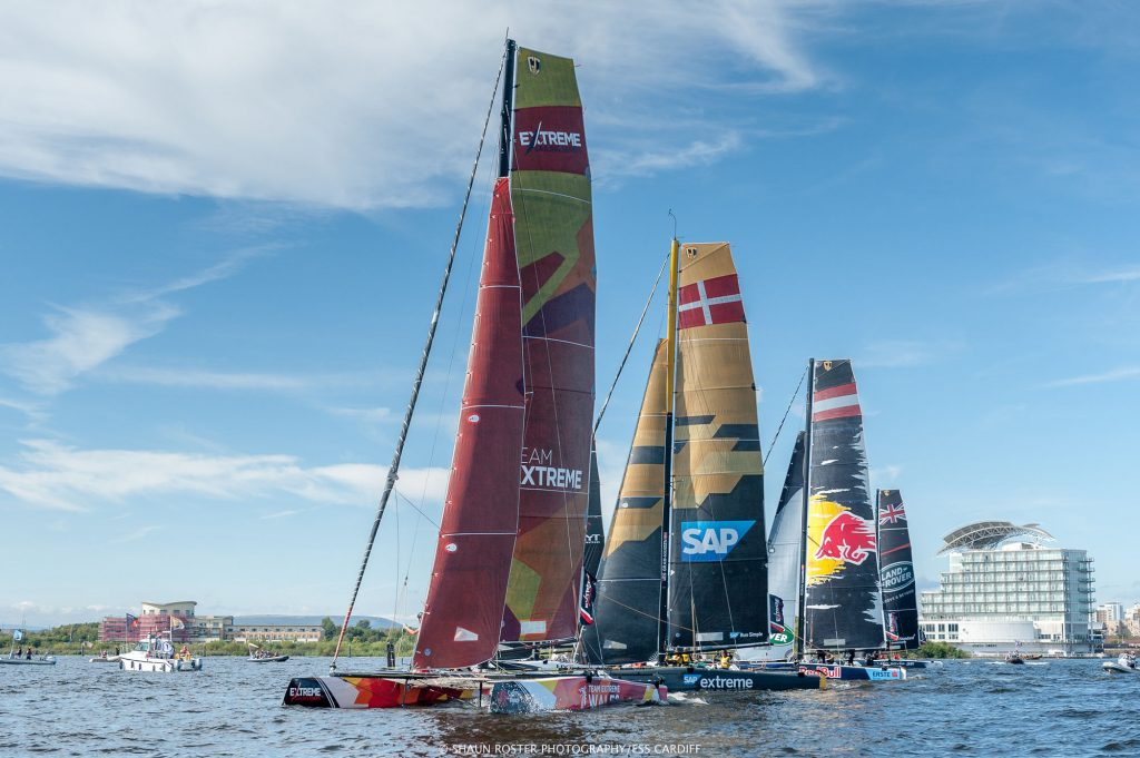 Extreme Sailing Series race yachts lining up