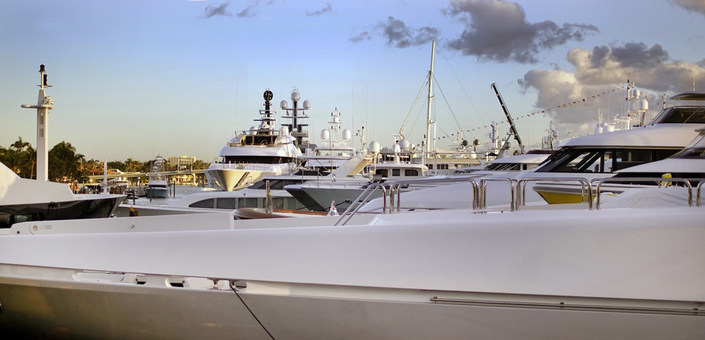 Fort Lauderdale International Boat Show superyacht at dusk